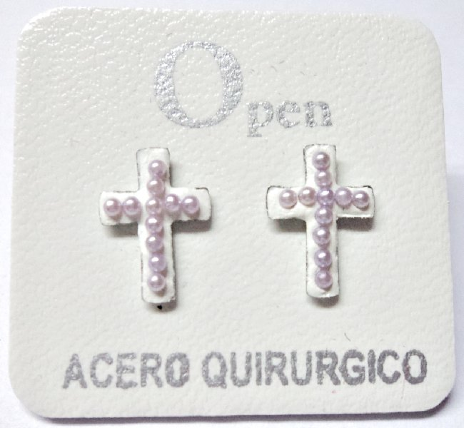 ACERO AROS OPEN CRUZ MICROPERLA LILA