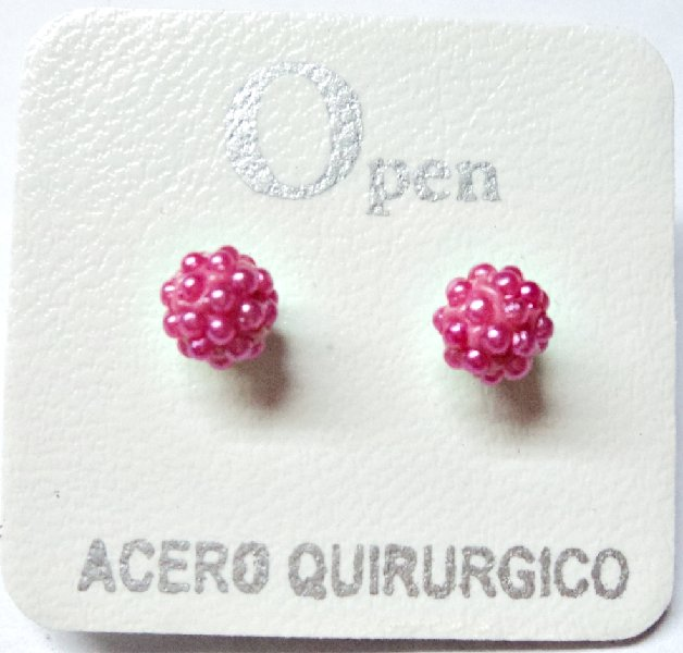 ACERO AROS OPEN AROS MICROPERLA 6MM FUCSIA