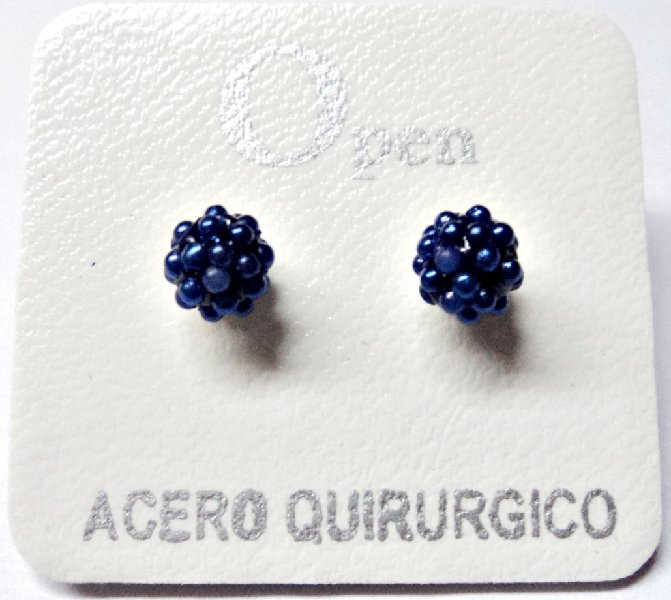ACERO AROS OPEN AROS MICROPERLA 6MM AZUL