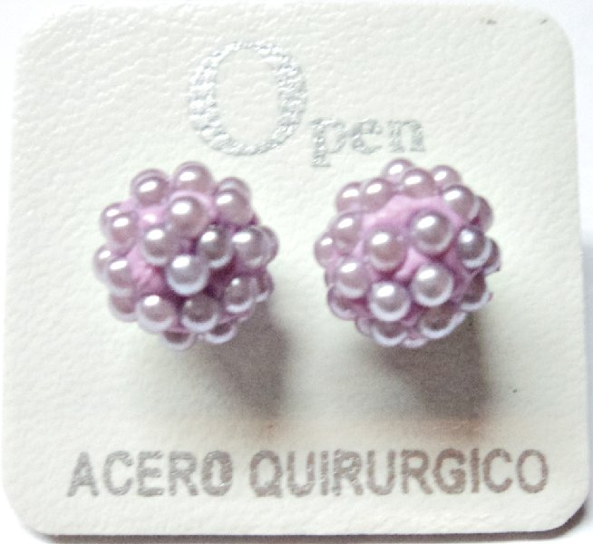 ACERO AROS OPEN AROS MICROPERLA 10MM LILA