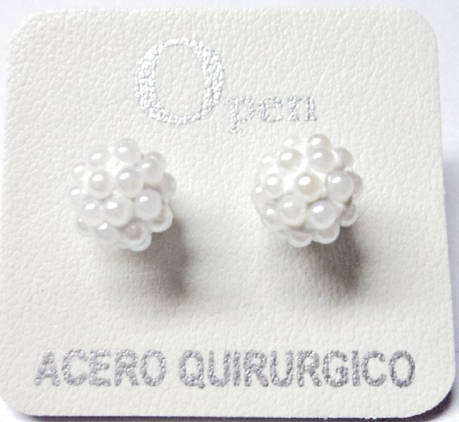 ACERO AROS OPEN AROS MICROPERLA 8MM BLANCO